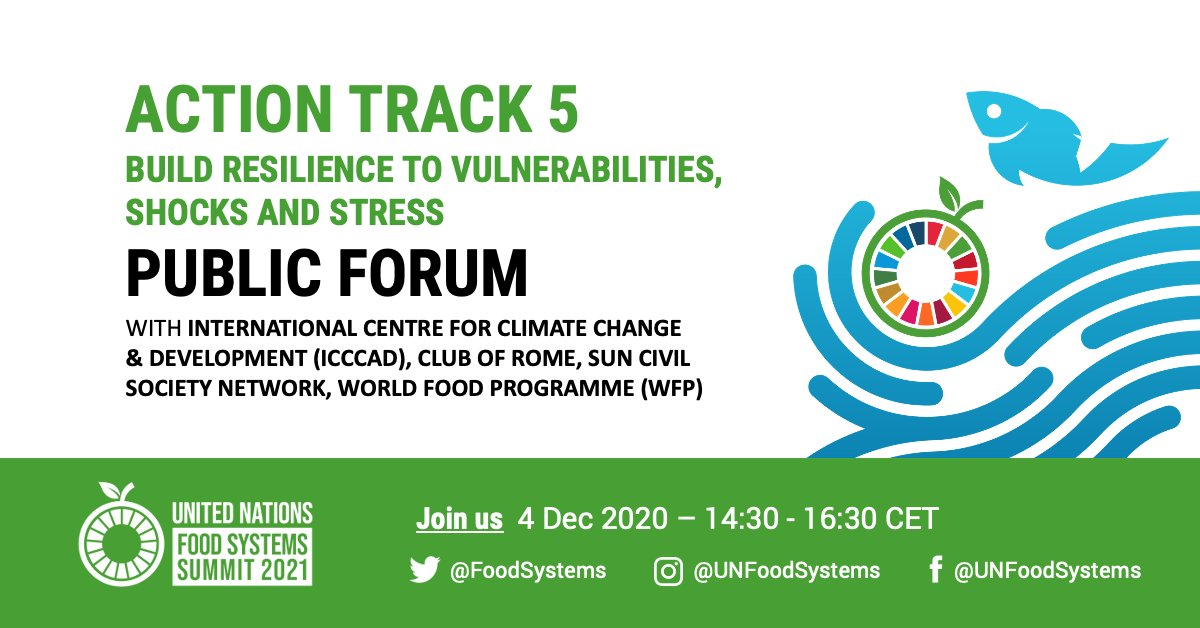 Up next this Friday – join the @FoodSystems Summit Action Track 5 Public Forum with @ICCCAD @ClubOfRome @SUNCSN & @WFP, exploring how to ensure the functionality of sustainable #FoodSystems in conflict & disaster-prone areas  🕝 2:30pm - 4:30pm CET ✍️