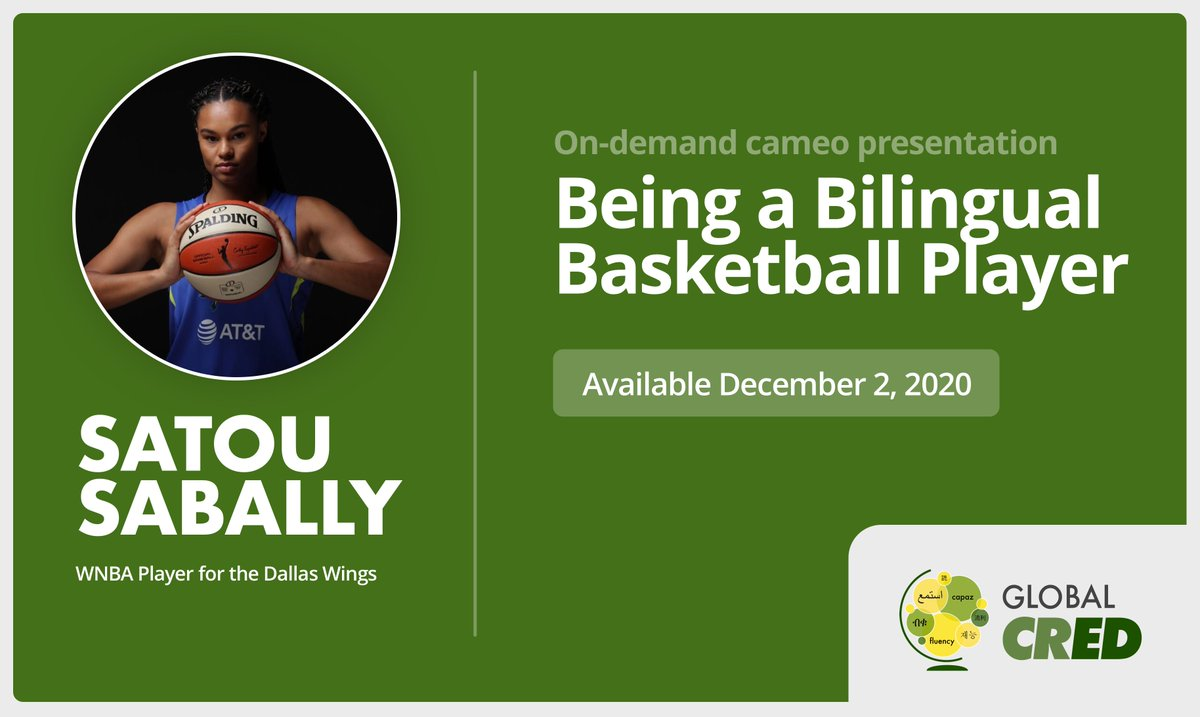 🏀🗑️Don't miss @WNBA Star @satou_sabally of the @DallasWings tomorrow at #GlobalCRED!🗑️🏀 The past @OregonWBB standout will share her personal & professional insights about the benefits of being #bilingual that have helped her accel in life & #basketball.