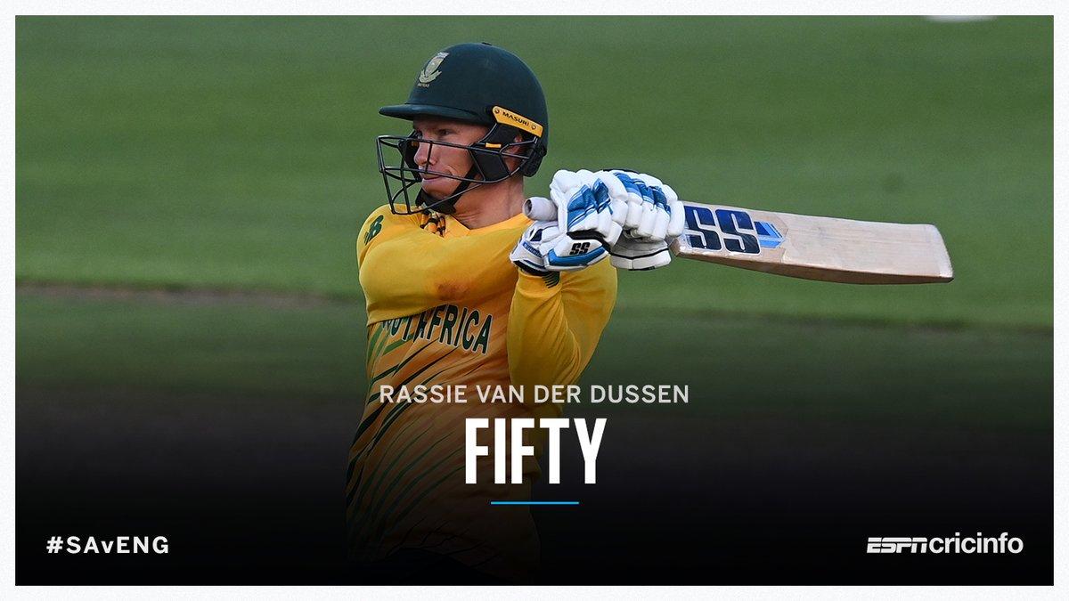 6️⃣4️⃣4️⃣•6️⃣2️⃣ 💥  Rassie van der Dussen smashes 22 off Jofra Archer's final over to get a 23-ball half-century!      #SAvENG