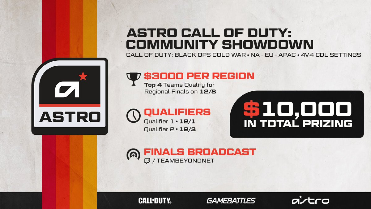 Last call for entrants for the #ASTROCOD Community Showdown Qualifier 2!   Don't miss your change to register for this #BlackOpsColdWar 4v4 qualifier:  NA //  EU //  APAC //