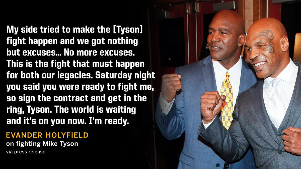 Evander Holyfield tells Tyson to stop making excuses and sign the contract 👀