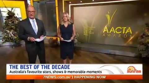 sunriseon7: Tonight, @Channel7 is celebrating the 10th anniversary of the #AACTAs with a countdown of the best on-screen moments of the decade 🎬