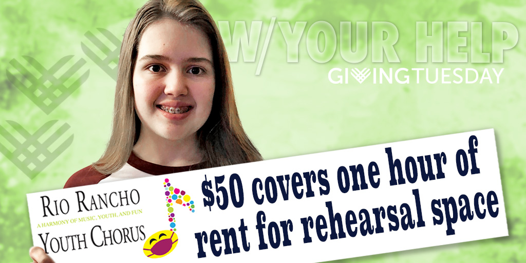 This #GivingTuesday make room for new opportunities for our youth and artists - please click on the giving link now and double your gift through our matching donors!  #RioRanchoGives #GiveLocal #LiveGenerously #UnleashGenerosity