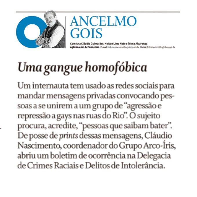 Nota de Ancelmo Gois no O Globo revela criação de gangue de lutadores homofóbicos no Rio. (Foto: Reprodução / O Globo)