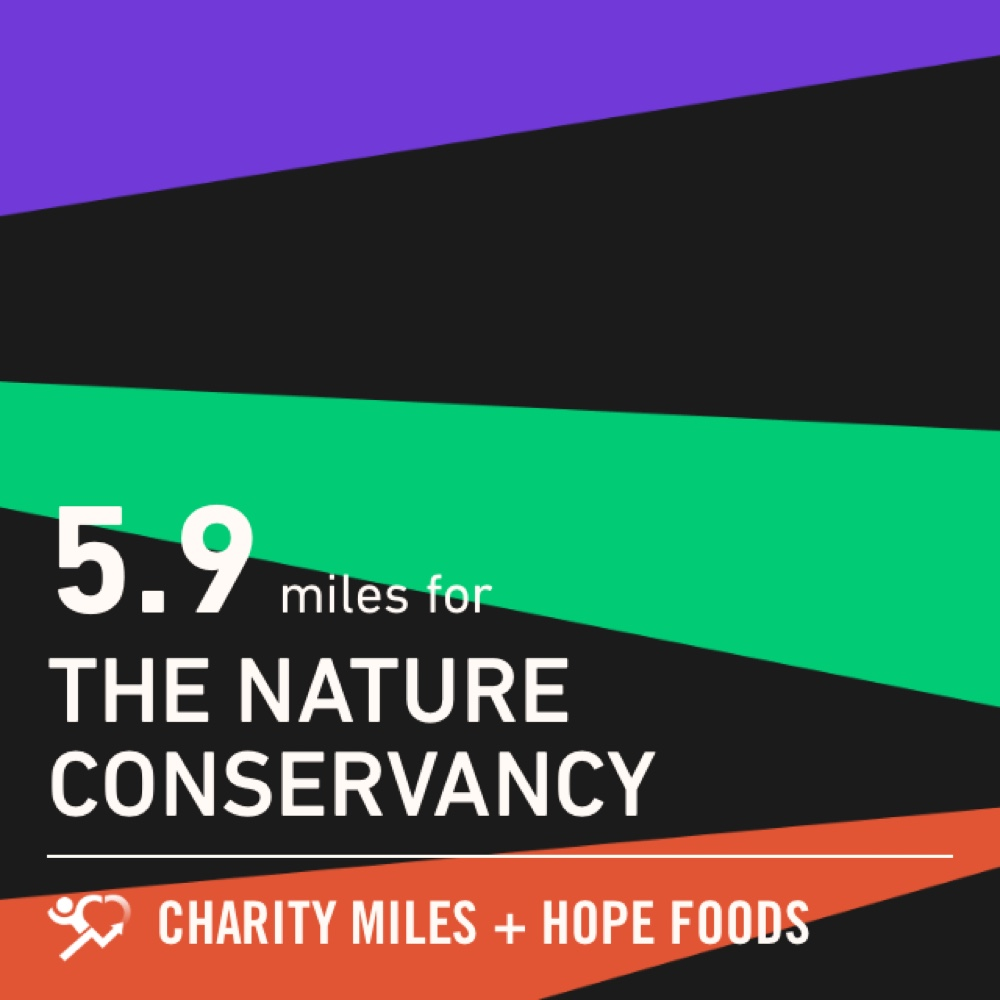 5.9 @CharityMiles for @nature_org. Thx @HopeHummus for sponsoring me! #SpreadHope #HopeForTheDay #givingtuesday #charitytuesday #charity