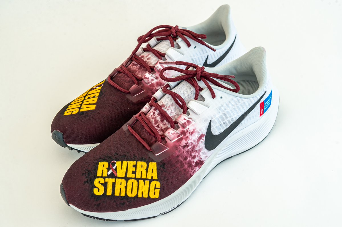 We're all #RiveraStrong!  Coach explains the meaning behind his shoes that support @AmericanCancer!   Bid now ➡️