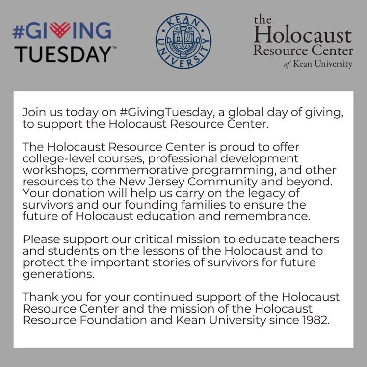 """Today is #GivingTuesday! To participate, please visit  and enter your desired amount. Then scroll down to """"Other"""" and enter """"Holocaust Resource Center"""" for your designation. Thank you for your support and donation!"""