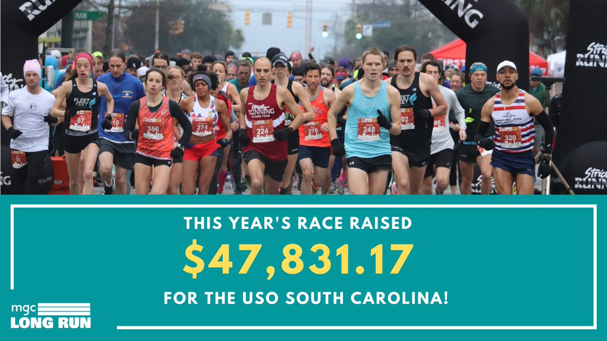 We are so excited to announce that the 2020 MGC Long Run raised $47,831.17 for the USO South Carolina! A huge thank you to all the runners, walkers, volunteers and sponsors that make this event possible! #MGCLongRun #BetheForce #GivingTuesday