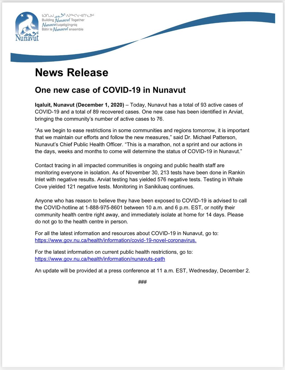 test Twitter Media - Only one new case of #COVID19 today in #Nunavut - nice to see the numbers going down. https://t.co/69vHH2U75P