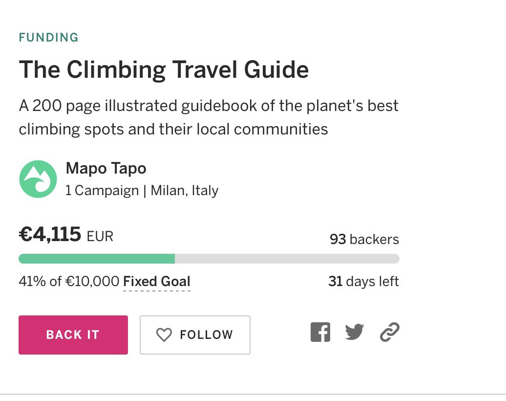 Our @Indiegogo campaign got 40% backed in 1.5 hours!!! Thank you!  We are creating #TheClimbingTravelGuide , a photo-book of the 50 best off-the-beaten-track #climbing destinations, to inspire #outdoor lovers to be pioneers of a more #sustainable way of #traveling https://t.co/z0WxEyGBeN