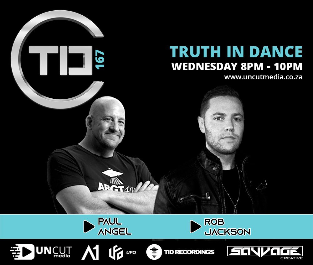 Live again on your radio tomorrow evening from 8pm -10pm with Truth In Dance Episode 167, featuring brand new releases from UFO Recordz and two exclusive mixes from DJ PAUL ANGEL and Rob Jackson (60 Minute Mix). Tune in  #TID167 #wearestronger #WeAreOne