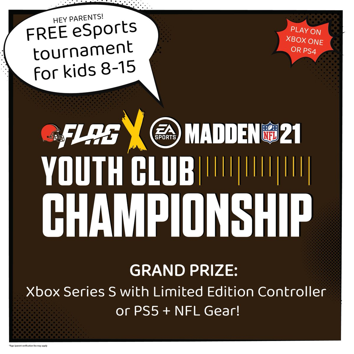 Here we go Brownies, Here we go!   Last chance to register for the FREE @NFLFLAG Madden 21 Youth Club Championship!   Rep the World's Team (#Browns) in #MaddenYCC. More info: