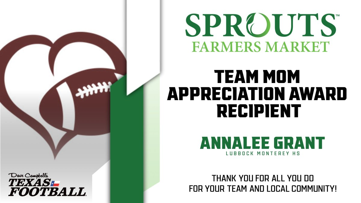 Congratulations to Lubbock Monterey's Annalee Grant on receiving the Sprouts Farmers Market Team Mom Appreciation Award!  https://t.co/hgMCrtR0Cz 🎙️ @Romajesty | #TXHSFB   @sproutsfm @mhsplainsmenfb @montereyhs @AthleticsLISD @coachutch @montereyGBB https://t.co/AEuHCbFN6u