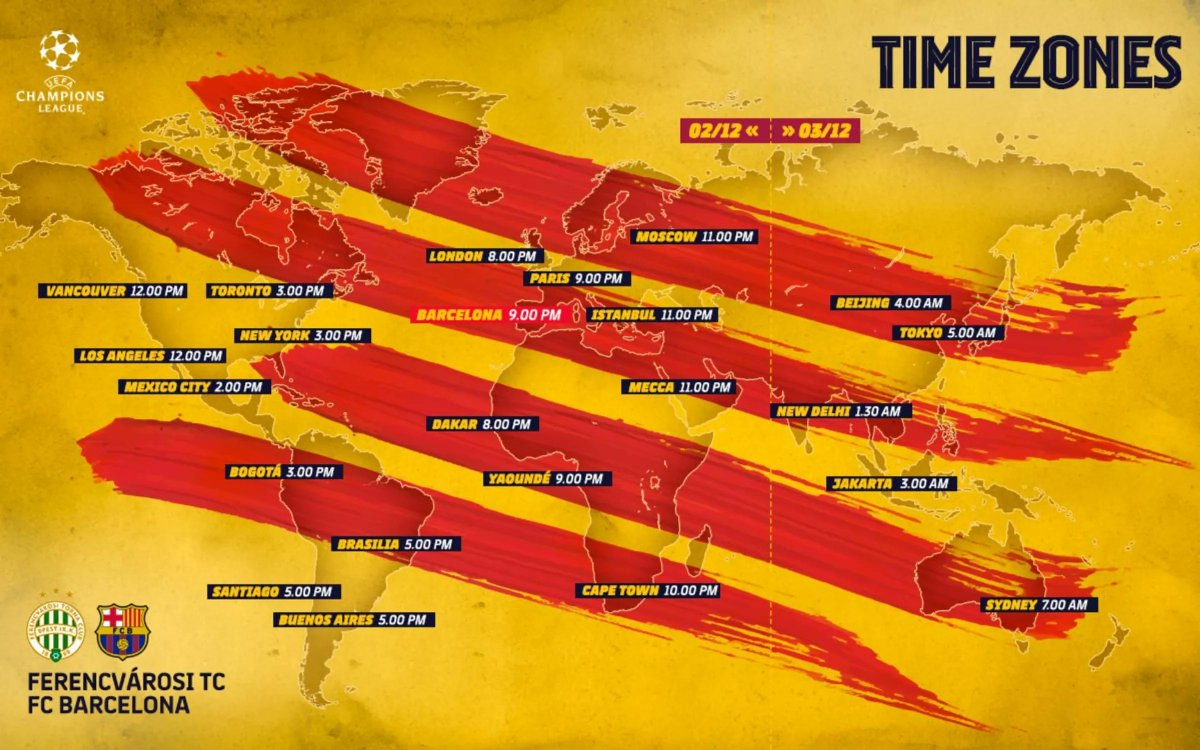 ⏰ #FerencvarosBarça global kick off times
