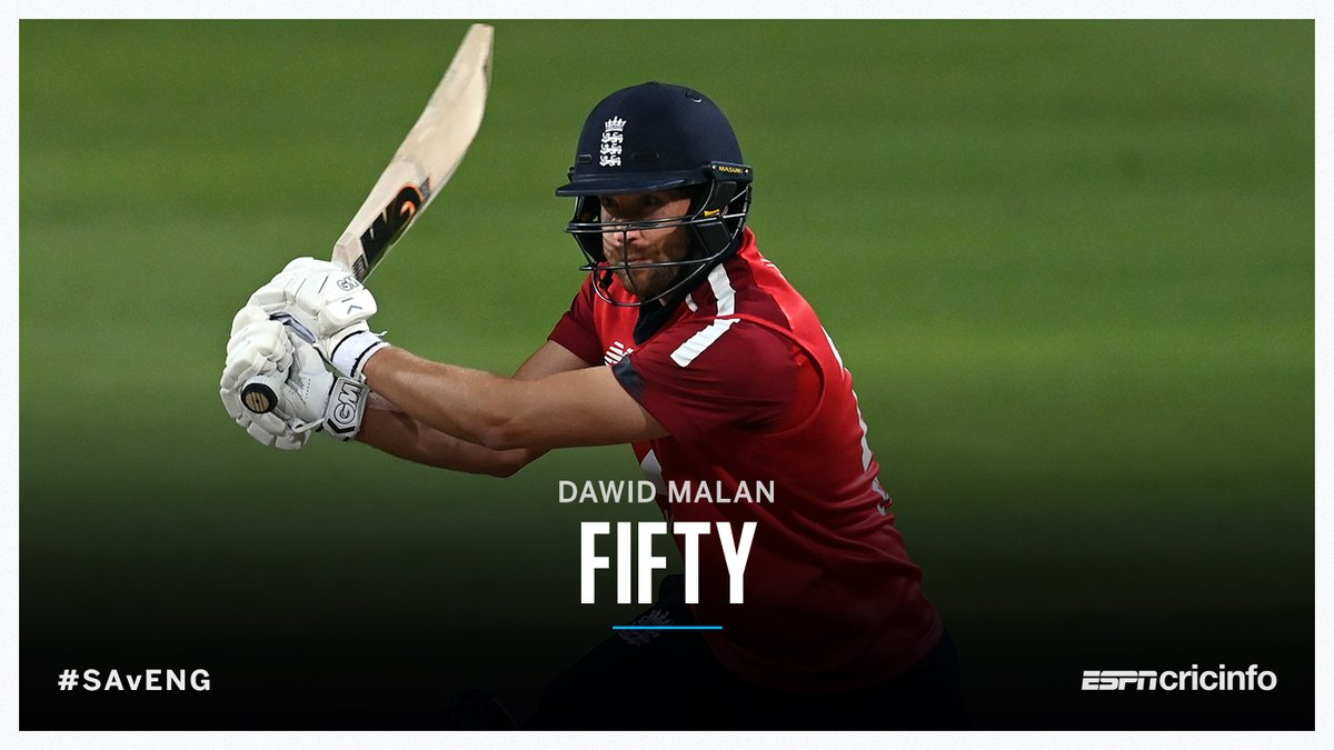 Malan's on a mission!  The top-ranked T20I batsman gets his 10th 50+ score in 19 innings, this half-century coming off 26 balls 👏    | #SAvENG