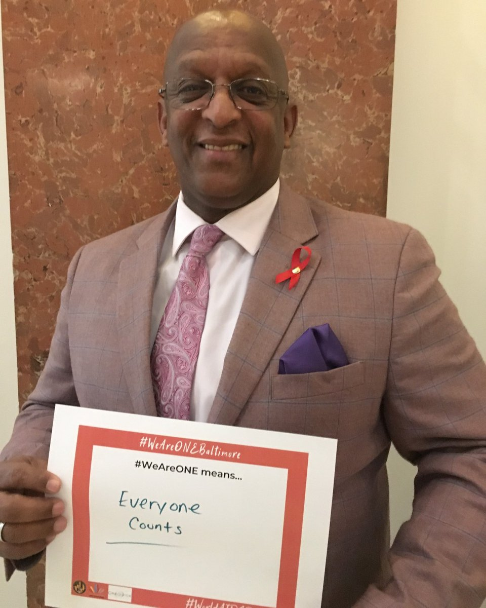 "#WAD2019's theme was #WeAreOne. We asked attendees at our World AIDS Day reception last year to answer what this means to them.  Mayor Bernard C. ""Jack"" Young @mayorbcyoung says #WeAreOne means... ""everyone counts."""