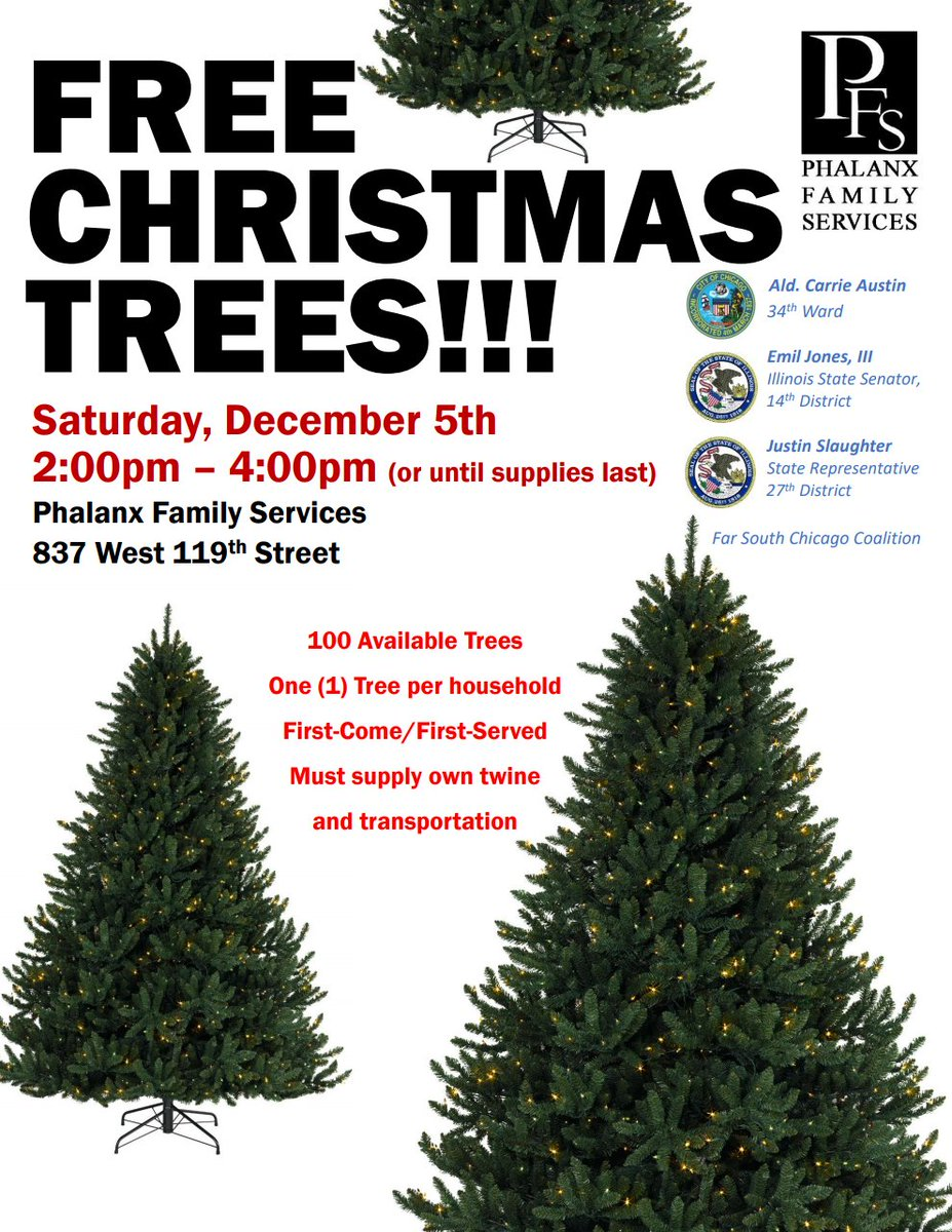 It's the most wonderful time of the year. ☃️❄️❄️❄️  We're hosting a #free #Christmas tree giveaway on #Saturday, 12/5 from 2:00 pm-4:00 pm. 1 tree per household. Trees are 1st come, 1st served. We will practice social distancing.🎄🎁🤶🏿🎅🏿 https://t.co/OWJDvdMB7l