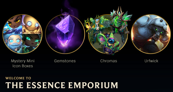 The Essence Emporium is live until December 14, 2020! Use your hard-earned Blue Essence to grab:   🤡 Icons 💎 Gemstones 🌈 Chromas 🐺 Ufwick, and more!  Head to the shop and see if anything catches your eye!