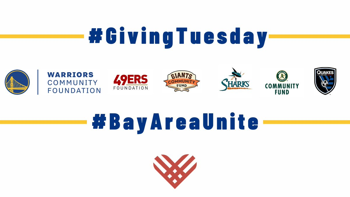 The Bay Area sports team foundations are coming together for a special #BayAreaUnite fundraiser this week.  Join us this #GivingTuesday, from Dec. 1-4 by making an online donation to support youth and education programs.
