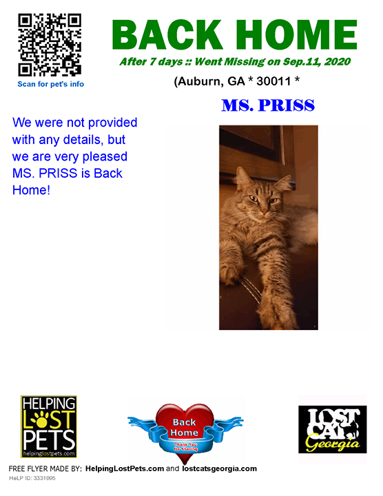 **FACEBOOK LINK:  ** #BACKHOME  We are so happy Ms. Priss is back home after 7 days!!!  We were not provided with any details, but we are very pleased MS. PRISS is Back Home!  Welcome Home Ms. Priss!!!  County: Barrow
