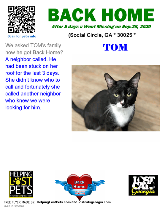 **FACEBOOK LINK:  ** #BACKHOME  We are so happy Tom is back home after 5 days!!  We asked TOM's family how he got Back Home? A neighbor called. He had been stuck on her roof for the last 3 days. She didn't know who to call and fortunately she called anoth…