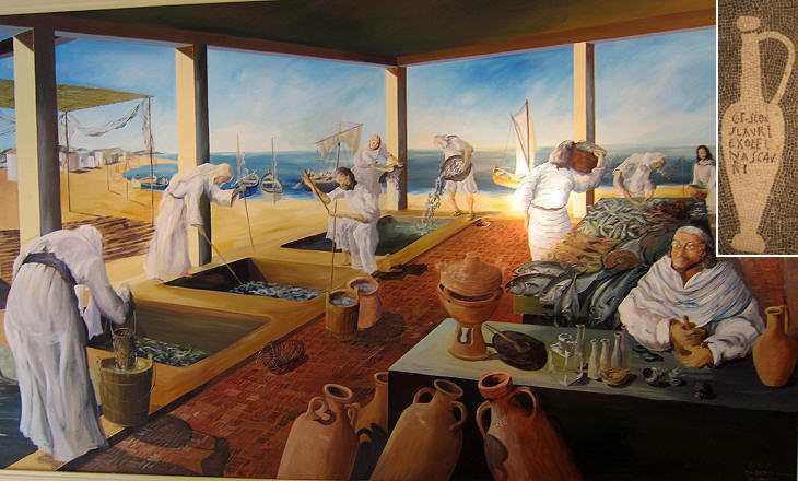 An artist's impression of the factory of garum (fish sauce) in Neapolis (modern-day Nabeul, #Tunisia). This factory was probably the largest of its kind in the #Roman Empire. The best garum however came from Lusitania (roughly modern-day #Portugal).  #History #NorthAfrica