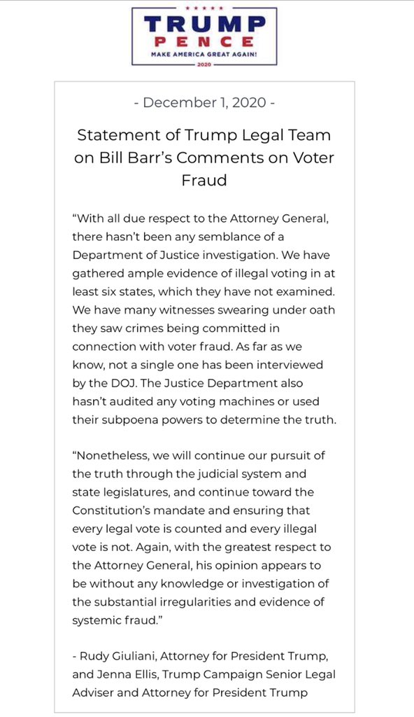 Statement of Trump Legal Team on Bill Barr's Comments on Voter Fraud. https://t.co/SlZRKStbri
