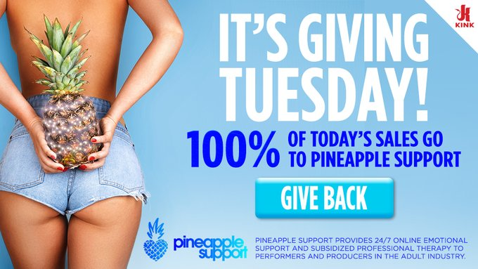 Get KINK for a cause!  💙 100% of today's sales go to Pineapple Support🍍  #kinkdotcom #kink #pineapplesupport