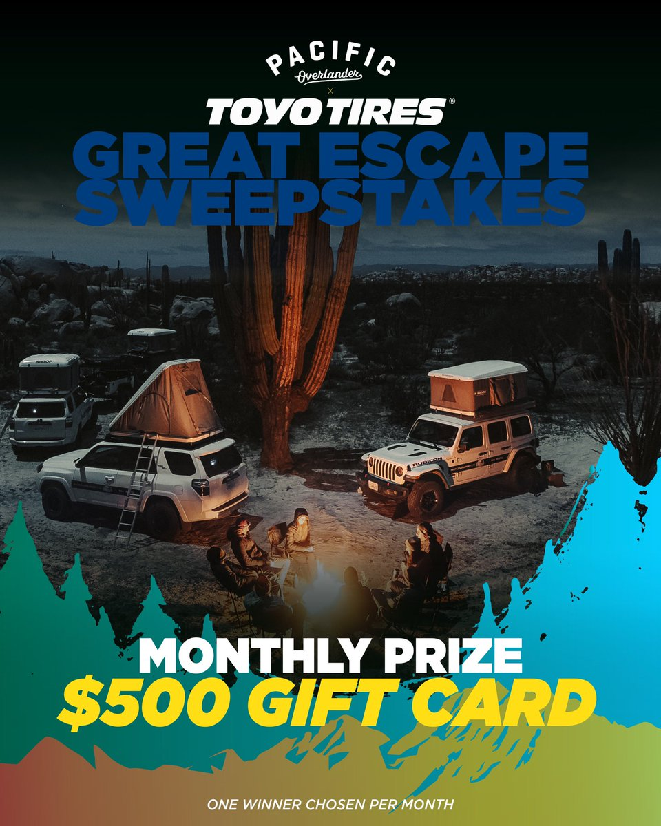 Who wants to win a Grand Canyon overlanding experience or a $500 gift card? Now's your chance! Enter athttps://t.co/UEm1wmhzv7. Enter the Toyo Tires Great Escape Sweepstakes for the chance to win the grand prize. 4-days / 3-nights in the Grand Canyon w/ @PacOverlander! https://t.co/d5neAcXrlJ