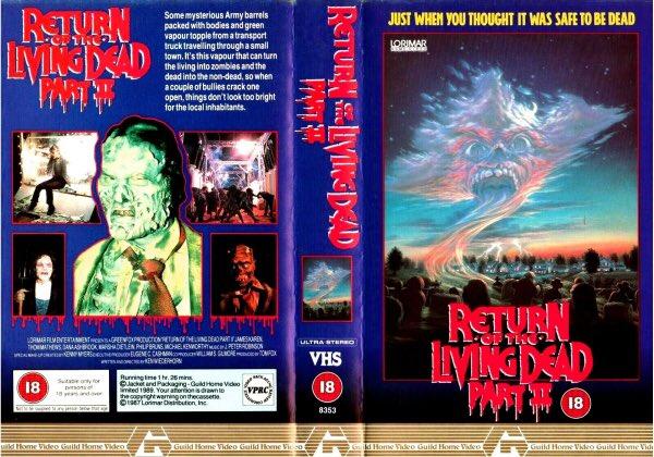 Original rental vhs artwork of the horror film #ReturnOfTheLivingDeadPart2 starring James Karen and Thom Matthews #tbt #artwork #Bluray