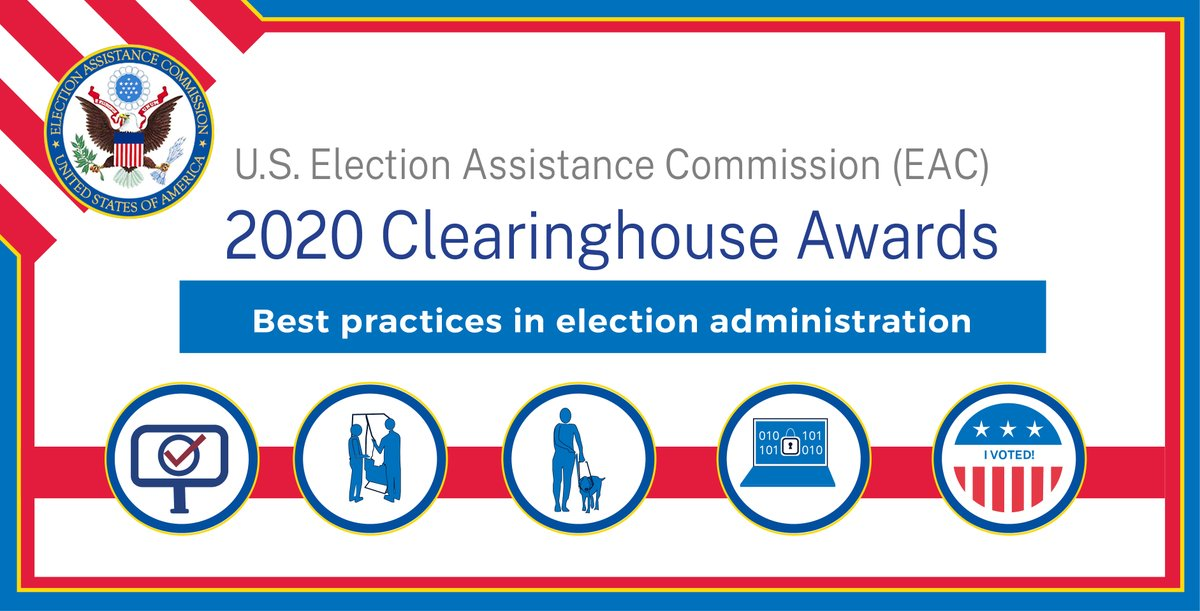 The @EACgov #ClearinghouseAward celebrates the resourceful & innovative spirit of #ElectionOfficials & election administration best practices. Does your jurisdiction have an innovative idea that helped make #ElectionDay2020 a success? If so, enter by 1/8: