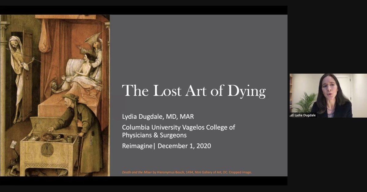 Lydia Dugdale, MD, from @Columbia_CCME, presents her new book 'The lost art of dying'. So interesting in times of #COVID19, to consider what can we learn from Medieval epidemics and 'old world' wisdom.
