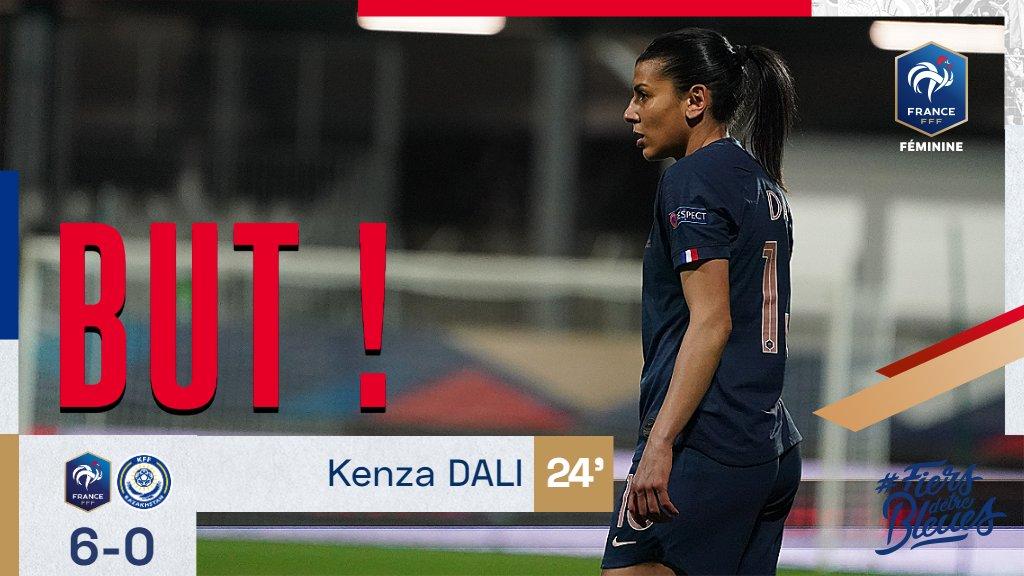 Belle frappe de @KenzaDali pour le 6-0 ! 24' #FRAKAZ #FiersdetreBleues