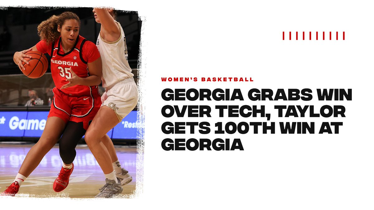 In Case You Missed It: @UGA_WBB grabbed a 75-69 win over Tech on Sunday in what was Coach Taylors 100th win at Georgia. Senior Gabby Connally also became the 40th player in program history to join the 1,000-point club. Recap: gado.gs/5m1