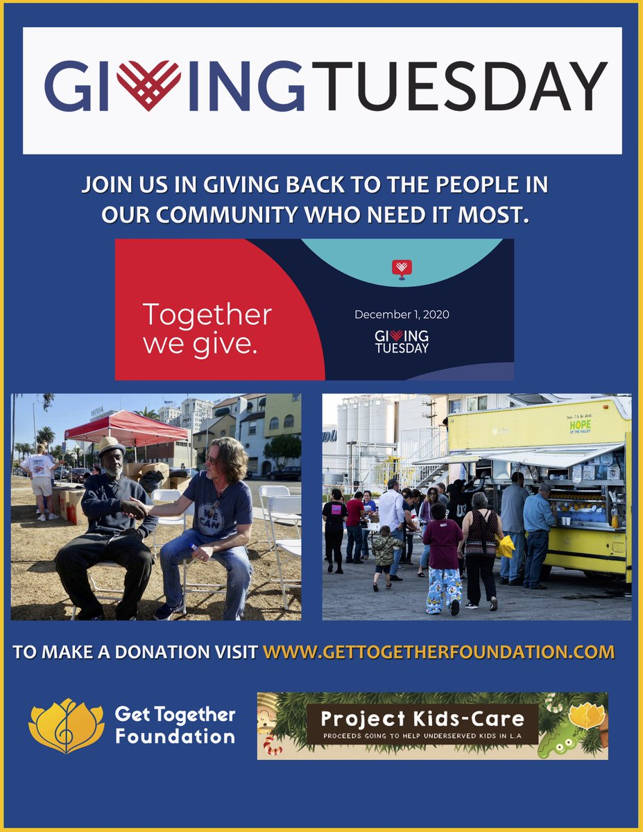 """Happy #GivingTuesday  Will you consider donating to our """"Get Together"""" Foundation?  This year we're directing our efforts to helping kids for the holidays. Even just a dollar can help!  And @earthlybody  will MATCH EVERY DOLLAR YOU DONATE!   #projectkidscare"""