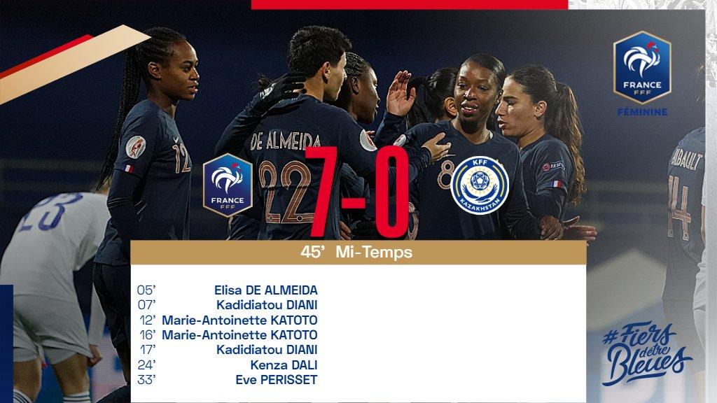 Mi-temps à Vannes. Les Bleues mènent 7-0 ! 🇫🇷🇰🇿 #FRAKAZ #FiersdetreBleues
