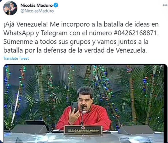 رئيس #فنزويلا ينشر رقم هاتفه عبر #تويتر ويُطالب شعبه بضمه إلى قروباتهم في الواتساب للتواصل معهم.
