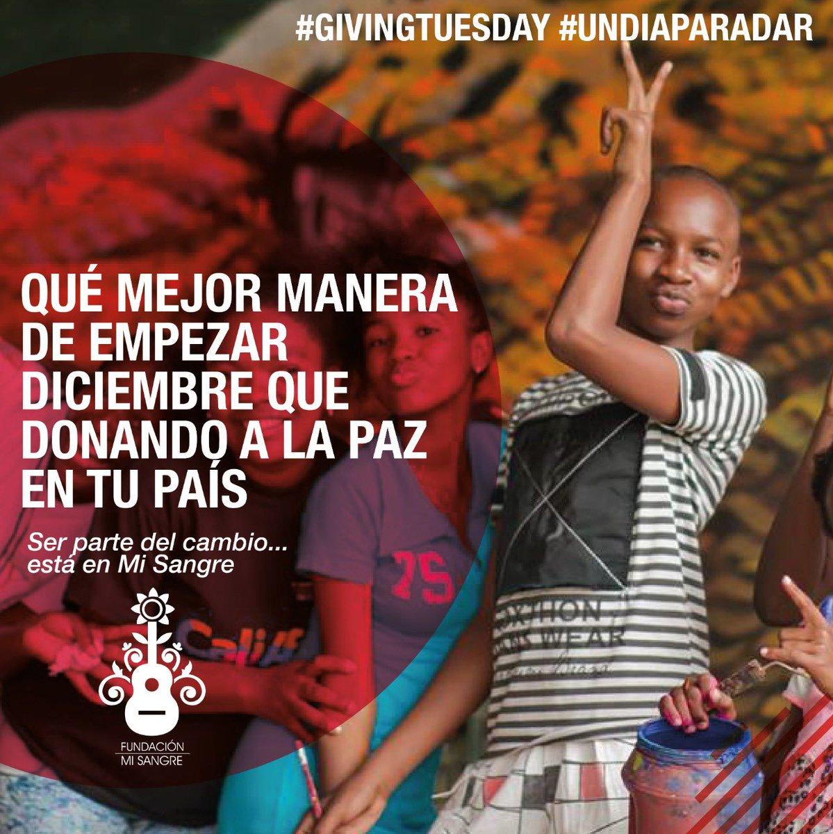 Hoy en #GivingTuesday queremos contar con tu apoyo para seguir empoderando a niños, niñas y jóvenes de Colombia, y formar la próxima generación de constructores de paz. 🙏🏻  Juntos podemos construir un hogar de paz para todos. @fmisangre