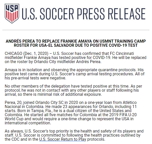 #FCCincy's Frankie Amaya tests positive for Covid-19 and will miss the #USMNT camp. He's replaced by #OrlandoCity's Andrés Perea.   Unfortunate for Amaya, who's been really good for the past two seasons, despite everything around him being a dumpster fire.