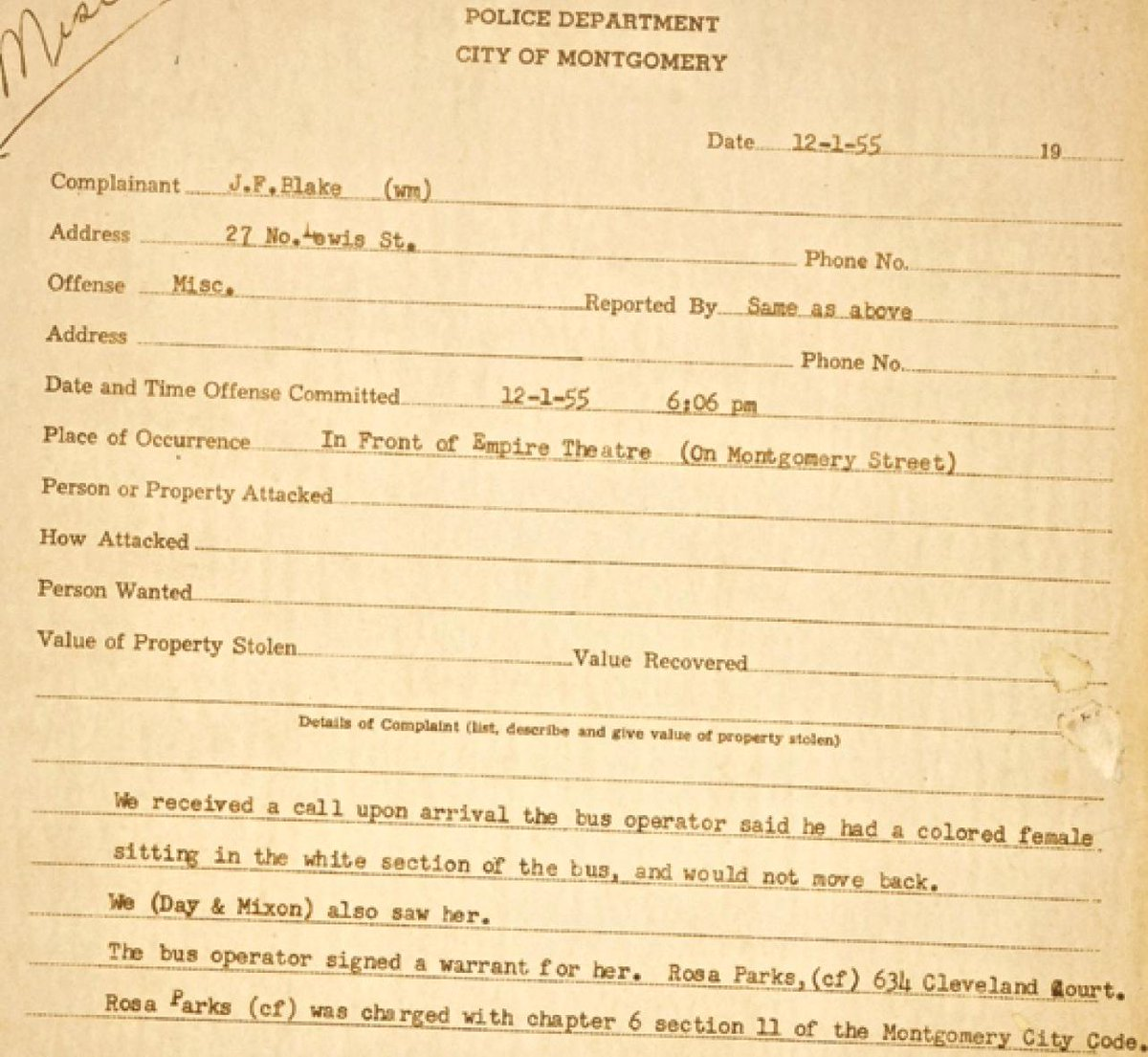 Police complaint against Rosa Parks, sixty-five years ago today: