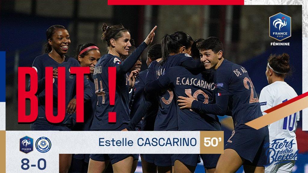Nos Bleues mènent désormais 8-0 ! Estelle Cascarino à la 50' #FRAKAZ #FiersdetreBleues