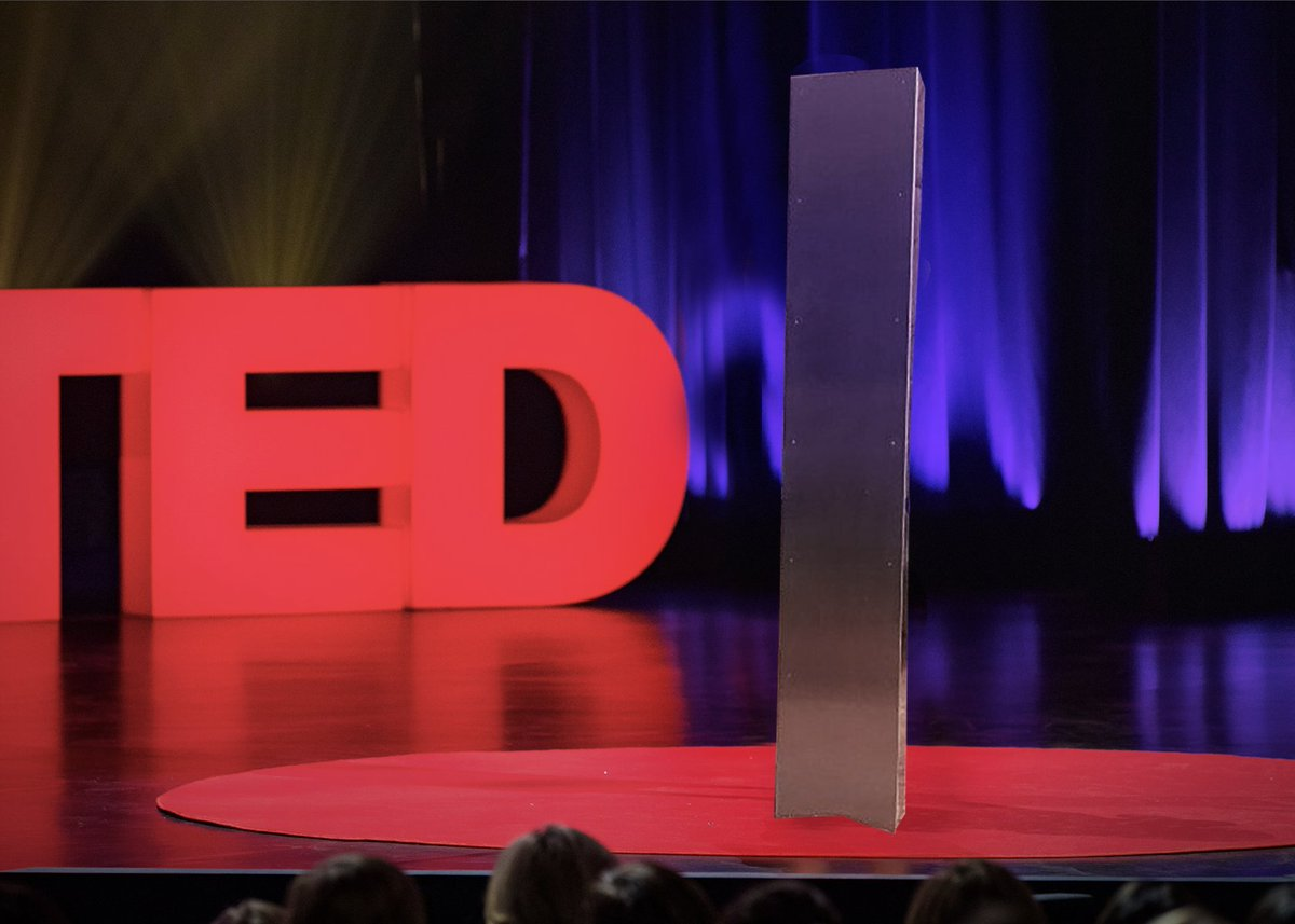 The mysterious monolith has appeared on the TED stage.