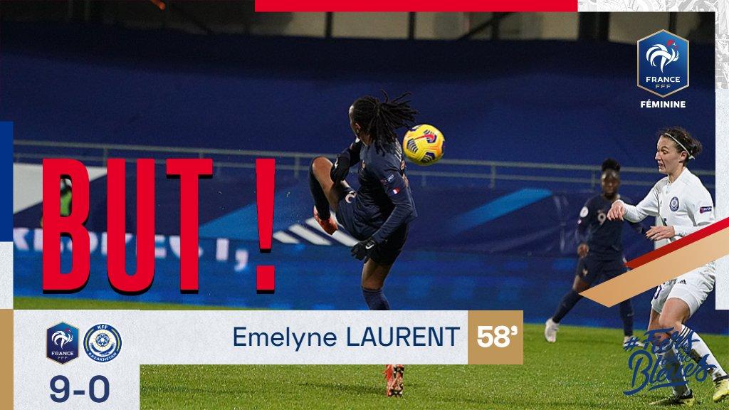 . @EmelyneLaurent pour le 9-0 ! 🇫🇷 #FRAKAZ #FiersdetreBleues