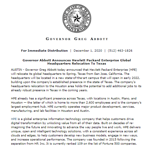 .@GovAbbott announced today that @HP will relocate its global HQ from California to Spring, TX.  The new HQ is set to open in 2022. #txlege https://t.co/pwQExUllR4