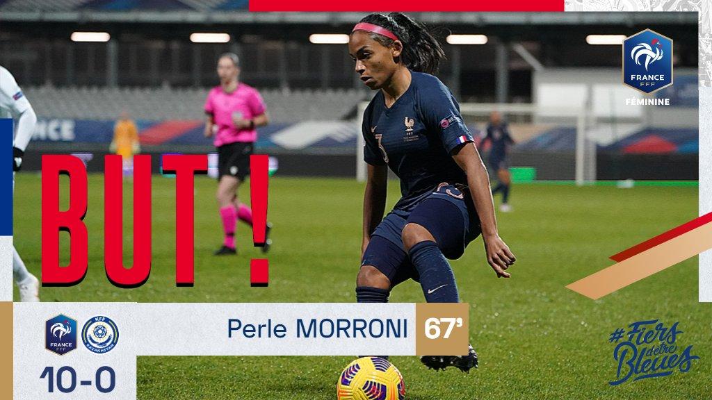 Et de 10 avec le but de @PerleMorroni ! 67' #FRAKAZ #FiersdetreBleues