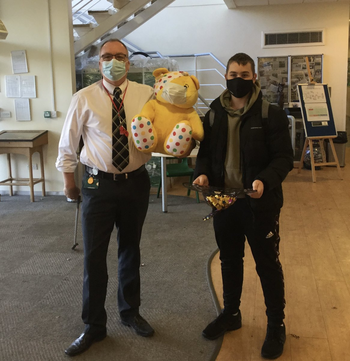 Thank you to Newent Rotary who donated Pudsey Bear for our #ChildrenInNeed raffle The winner was drawn by Mr Johnson and Mountbatten House Captain, Josh Ellis. Pudsey was won by Amy Shields in Year 7. The raffle raised £100. Thank you to all who purchased a square. #newentschool
