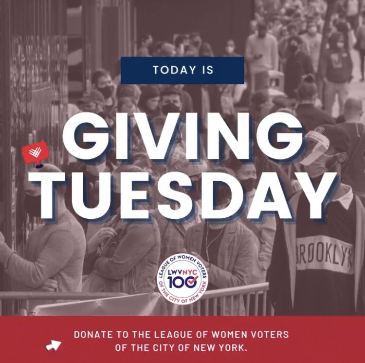 On this #GivingTuesday, will you support LWVNYC as we work to empower more voters than ever?  We won't rest until every vote counts. Every dollar you contribute makes what we do possible.