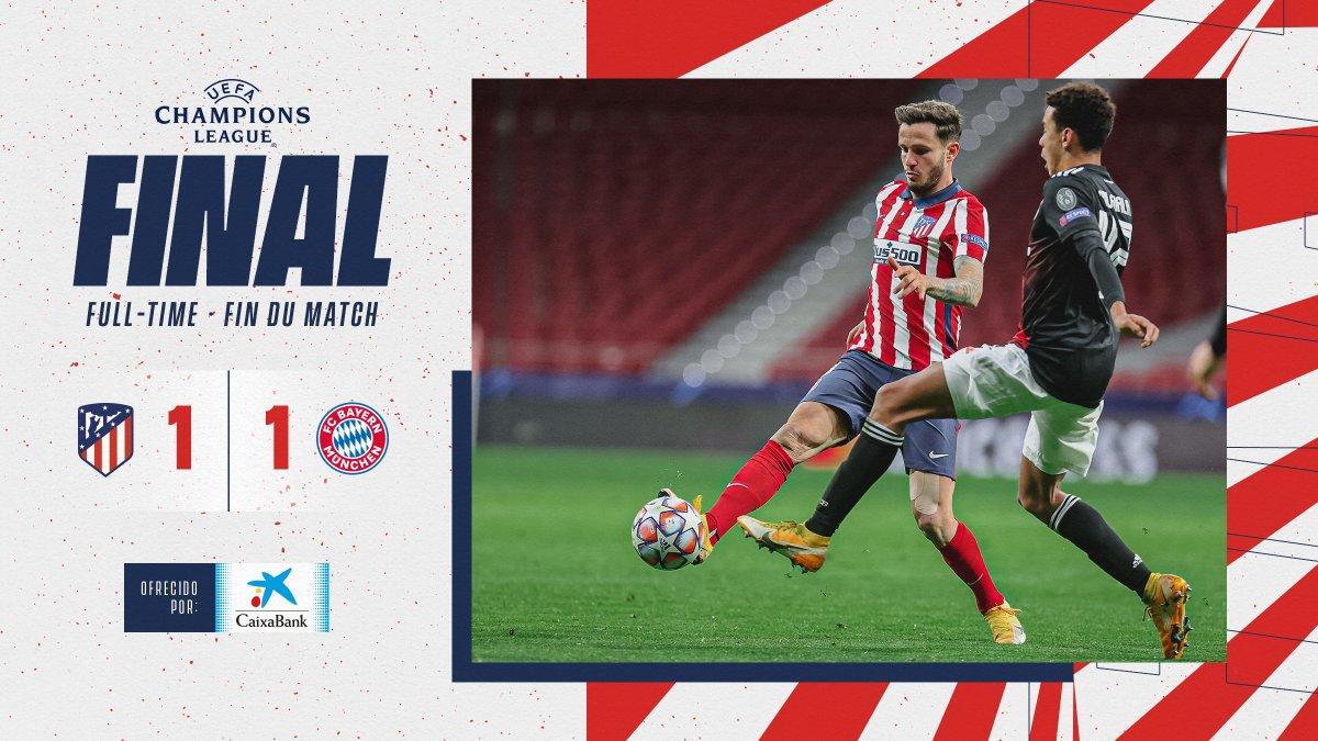 ⏱ 90'+ 4'   #AtletiFCB 1⃣-1⃣  𝗙𝗜𝗡𝗔𝗟 ⏹ Termina el partido con empate en el marcador.  🔴⚪#AúpaAtleti  ⭐#UCL