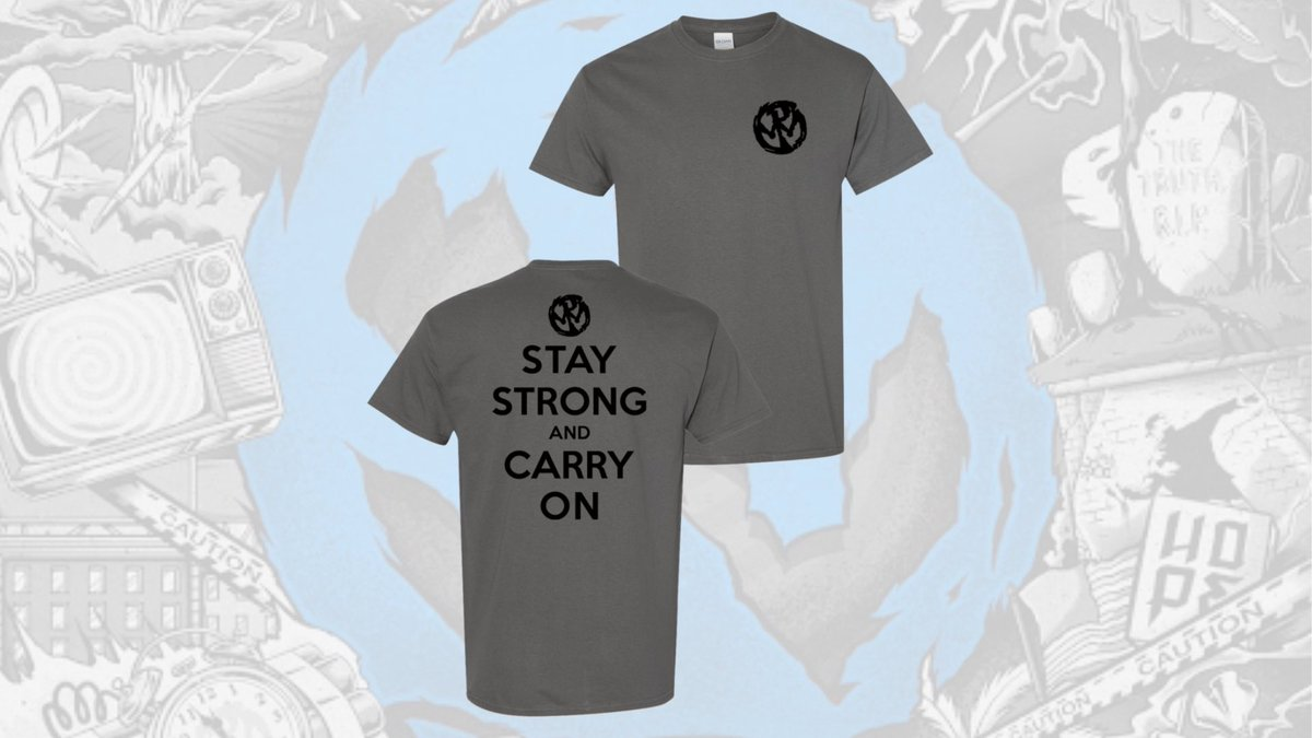 """Get this stealth T-shirt with an inspirational lyric from our song """"Keep Moving On"""" off the Never Gonna Die album. Stay Strong and Carry On.  Order here:"""