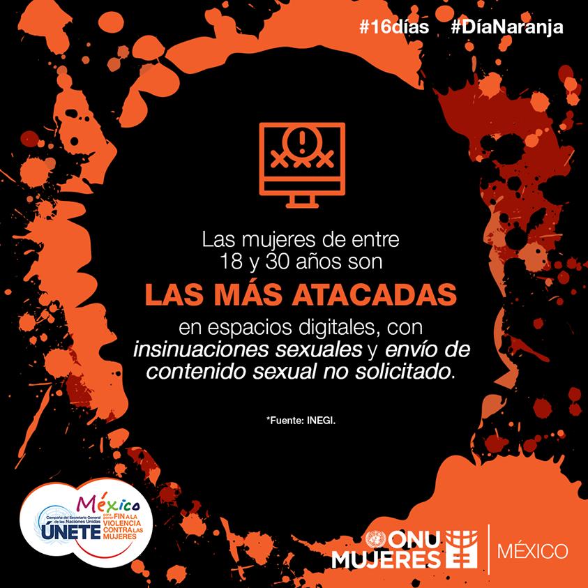 Durante el confinamiento se incrementaron las agresiones contra mujeres y niñas a través de internet, por el aumento de uso de medios virtuales ante la restricción de movimiento. #16Días #DíaNaranja #Únete
